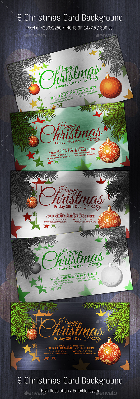 Christmas Typo Star (Volume 02) - Cards & Invites Print Templates