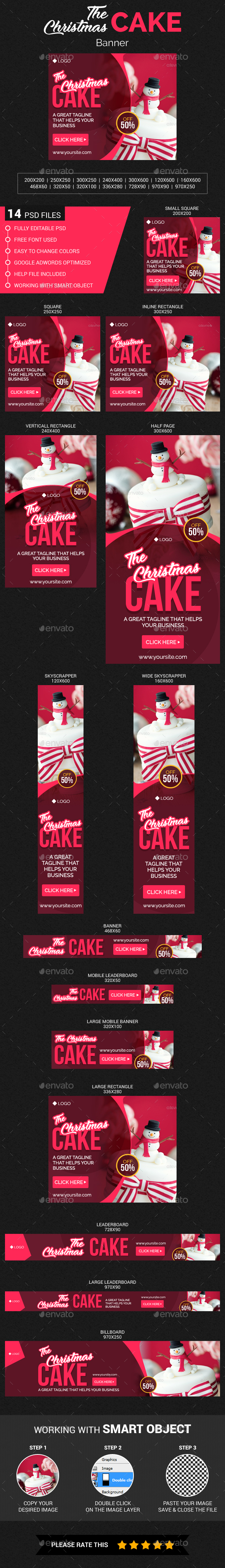 Christmas Cake Banner - Banners & Ads Web Elements