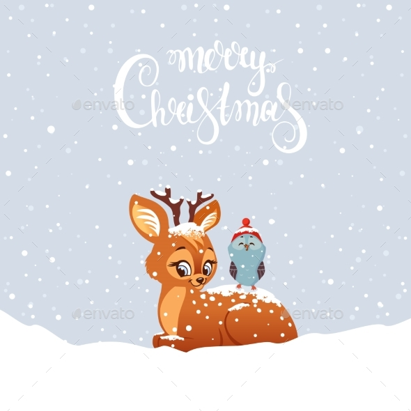 Deer with Owl - Animals Characters