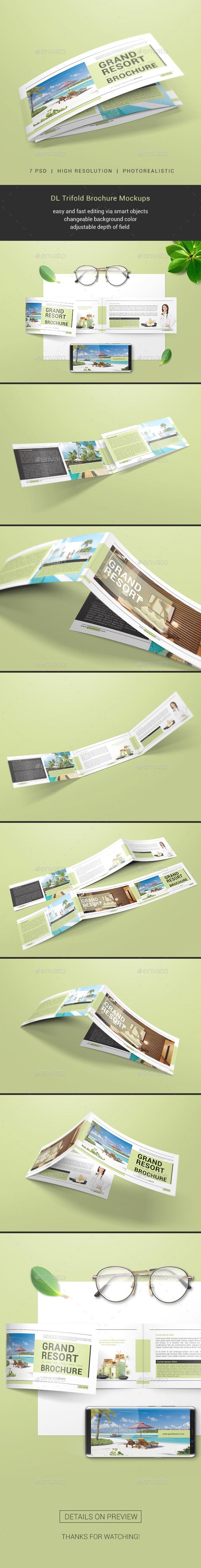 DL Trifold Brochure Mockups - Brochures Print