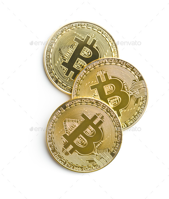 Golden bitcoins. Cryptocurrency. - Stock Photo - Images