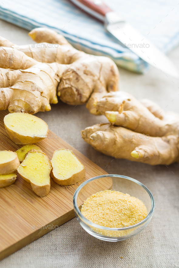 Dried and fresh ginger root. - Stock Photo - Images