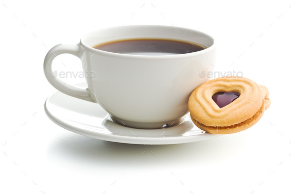 Sweet jelly cookies and coffee cup. - Stock Photo - Images