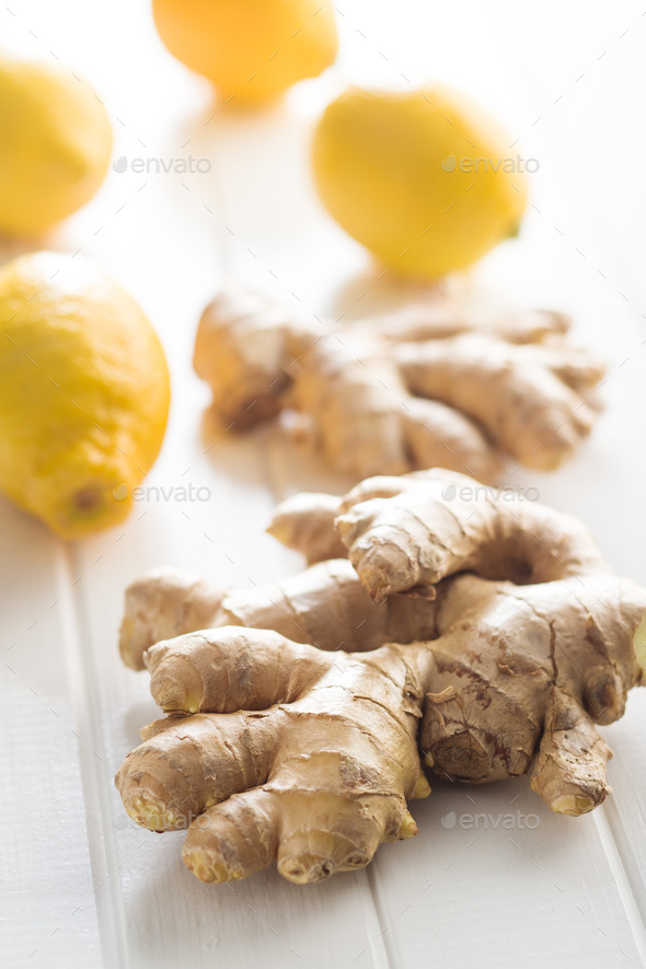 Ginger root and lemons. - Stock Photo - Images