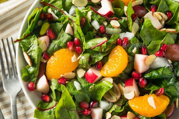 Raw Organic Winter Chard Salad with Oranges - Stock Photo - Images