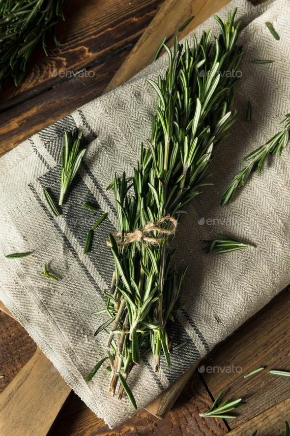 Raw Green Organic Rosemary Herbs - Stock Photo - Images