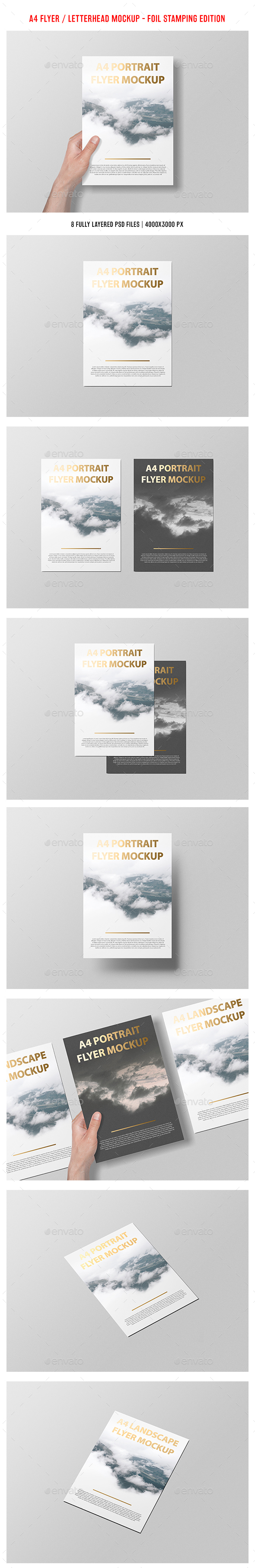 A4 Portait Flyer / Letterhead Mockup - Foil Stamping Edition - Flyers Print