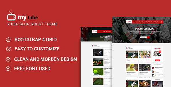 Mytube - Video Blog and Magazine Ghost Theme