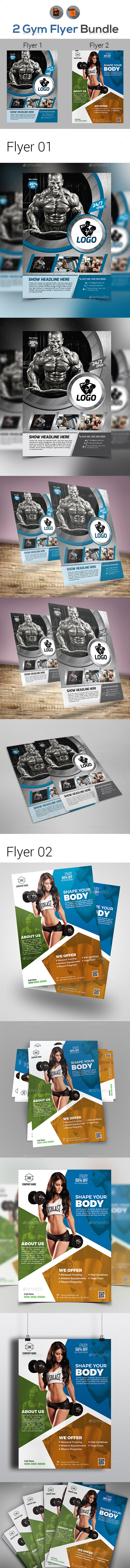 GraphicRiver Gym & Fitness Flyer Bundle 21105554