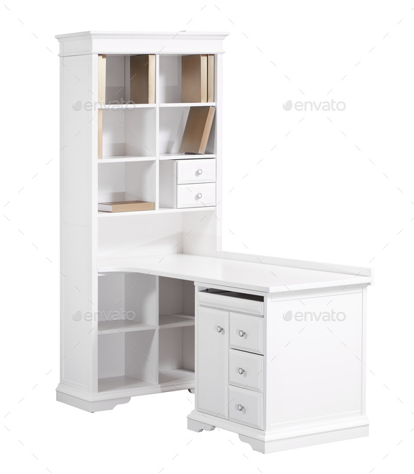 Home white wooden workstation (desk and bookcase) - Stock Photo - Images