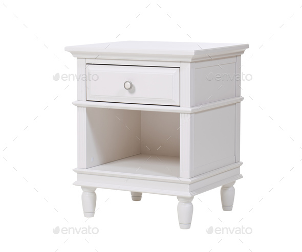 White wooden nightstand - Stock Photo - Images