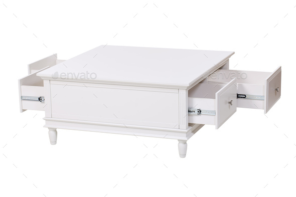 White wooden stand with open drawers over white.  - Stock Photo - Images