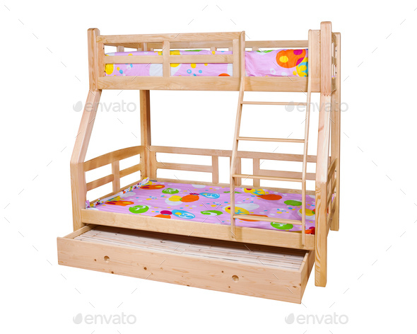 Bunk bed isolated over white background  - Stock Photo - Images