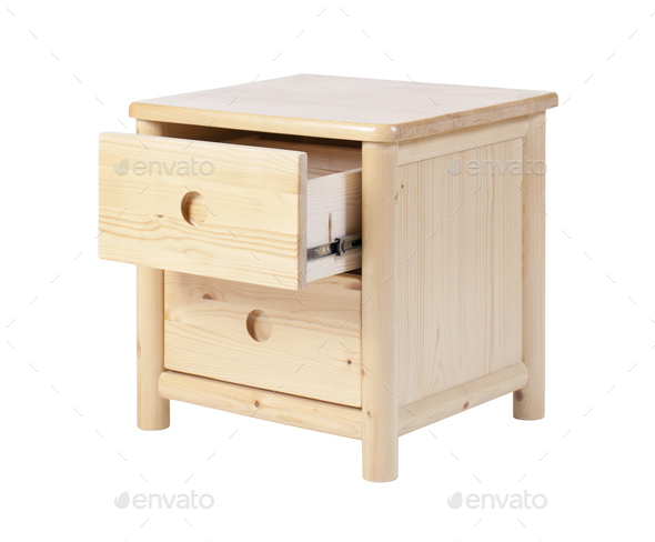 Wooden nightstand with open drawer isolated over white.  - Stock Photo - Images