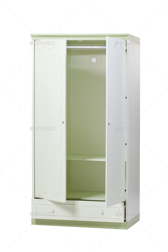 Two-section wardrobe with open doors isolated over white  - Stock Photo - Images
