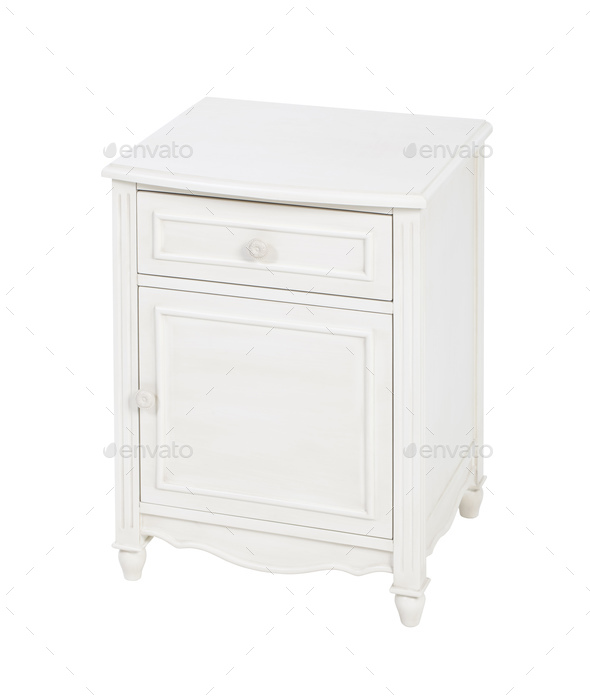 Elegant wooden nightstand isolated over white.  - Stock Photo - Images