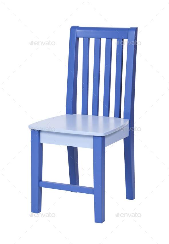 Blue wooden chair isolated over white - Stock Photo - Images