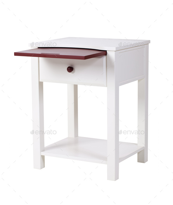 White wooden nightstand isolated - Stock Photo - Images