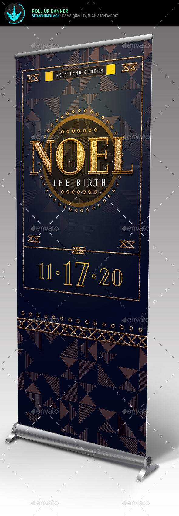 GraphicRiver Noel Christmas Gala Roll Up Banner Template 21105687
