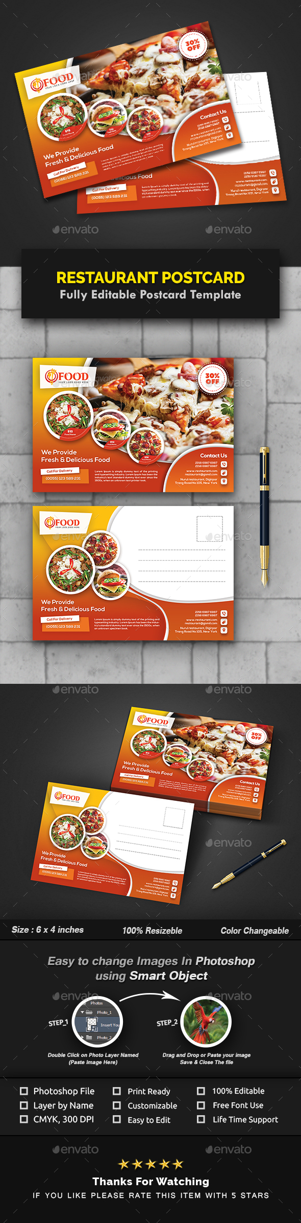 GraphicRiver Restaurant Postcard Templates 21105810