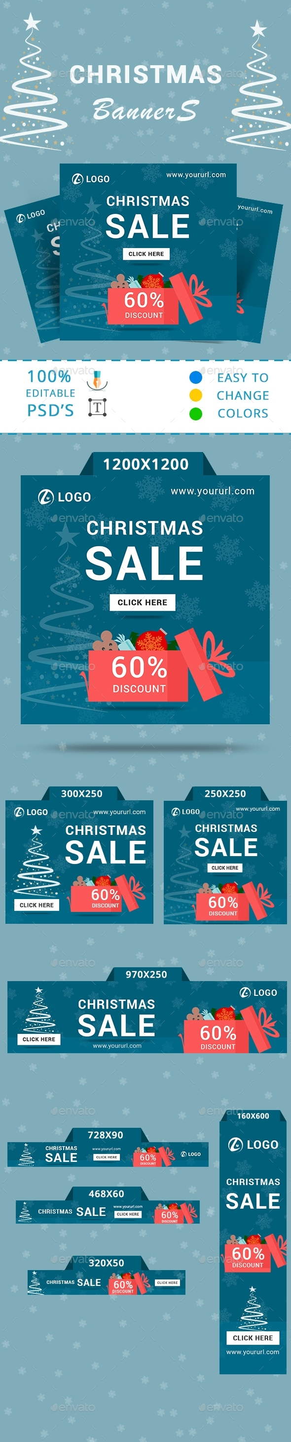 Christmas Sale banners with discount bag - Banners & Ads Web Elements