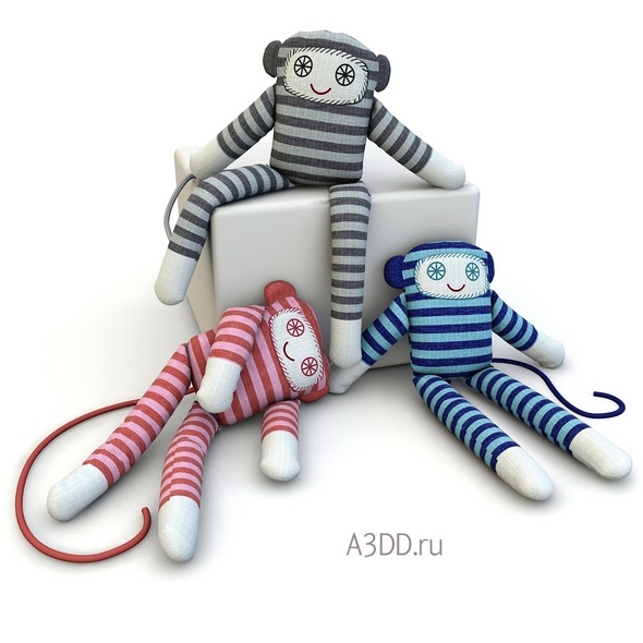 Textile doll Monkey toy - 3DOcean Item for Sale