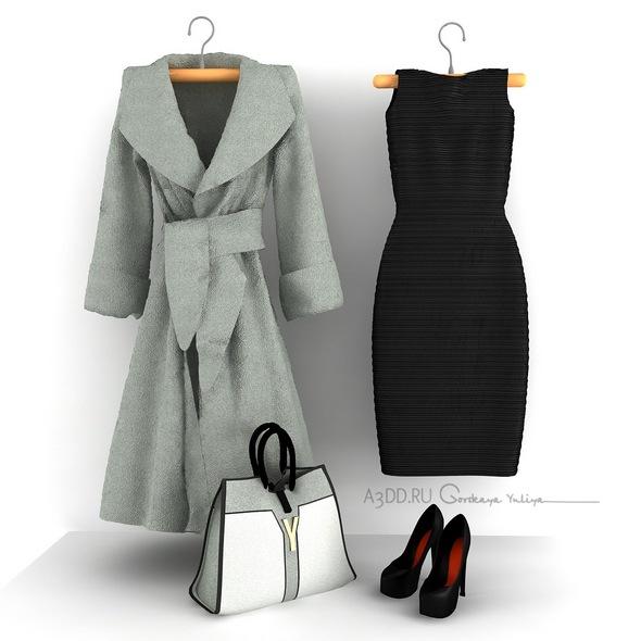 Set of women's clothing shoes coat handbag dress - 3DOcean Item for Sale
