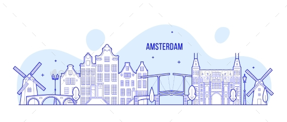 GraphicRiver Amsterdam Skyline Netherlands Vector City Building 21106030