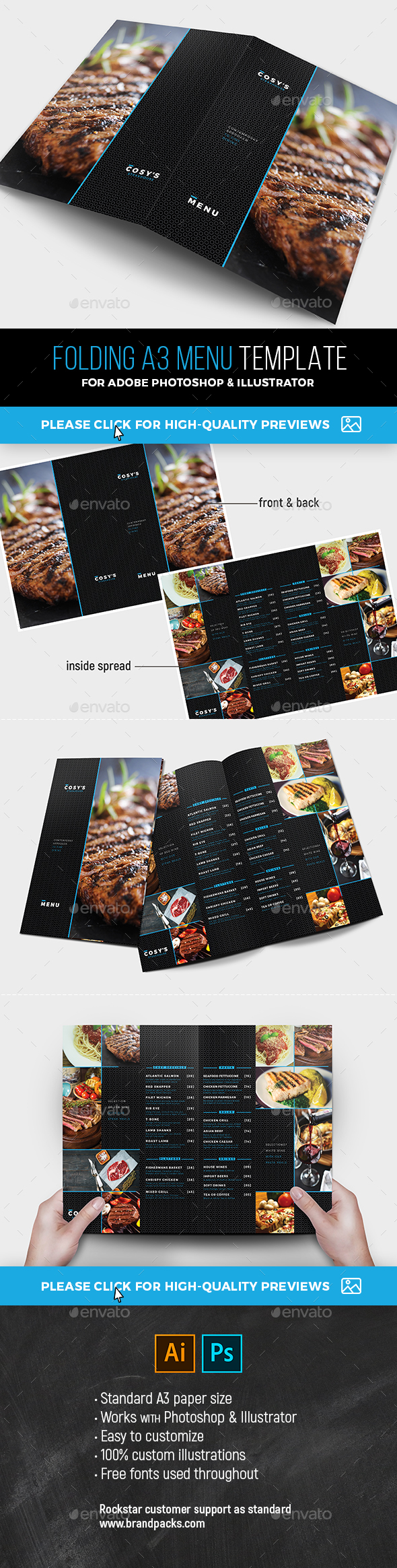 Folding A3 Menu Template - Food Menus Print Templates