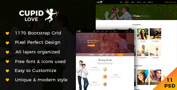CUPID LOVE - Dating Website PSD Template - PSD Templates