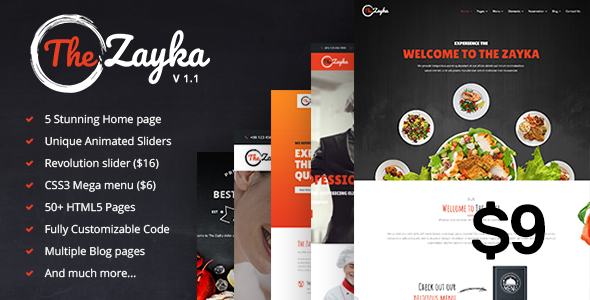 The Zayka - Multipurpose Restaurant, Food & Cafe HTML5 Template - Restaurants & Cafes Entertainment