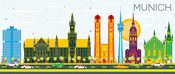 GraphicRiver Munich Germany Skyline with Color Buildings and Blue Sky 21106218