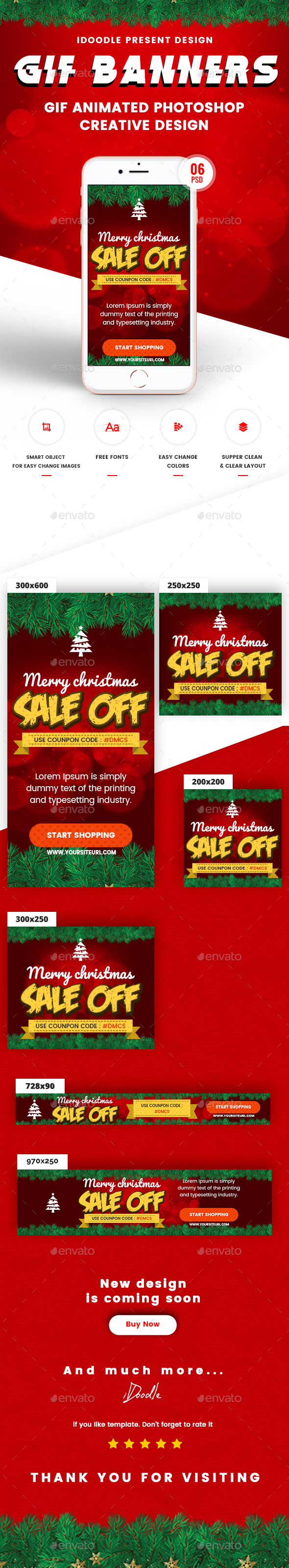 Animated GIF Merry Christmas Banners Ad - Banners & Ads Web Elements