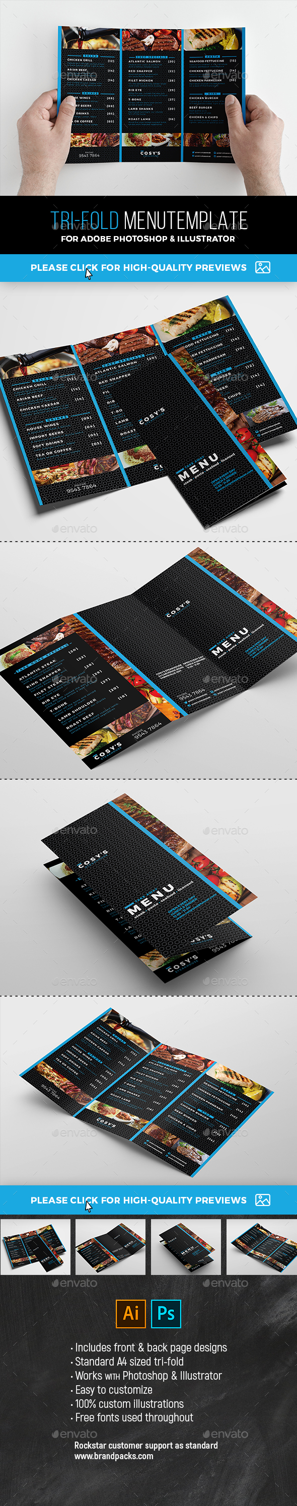 GraphicRiver Tri-Fold Restaurant Menu 21106384