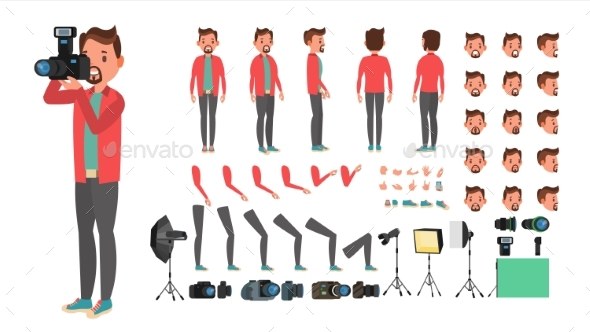 GraphicRiver Photographer Vector Taking Pictures Animated Man 21106403