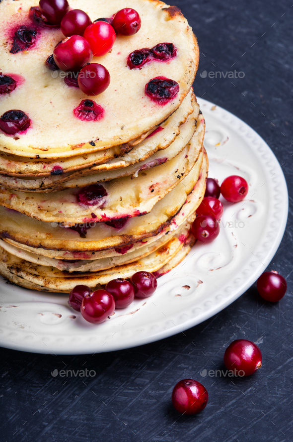 pancakes with cranberry - Stock Photo - Images
