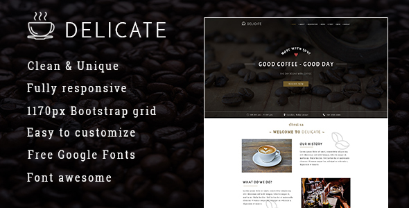Image of DELICATE   Coffee HTML Template