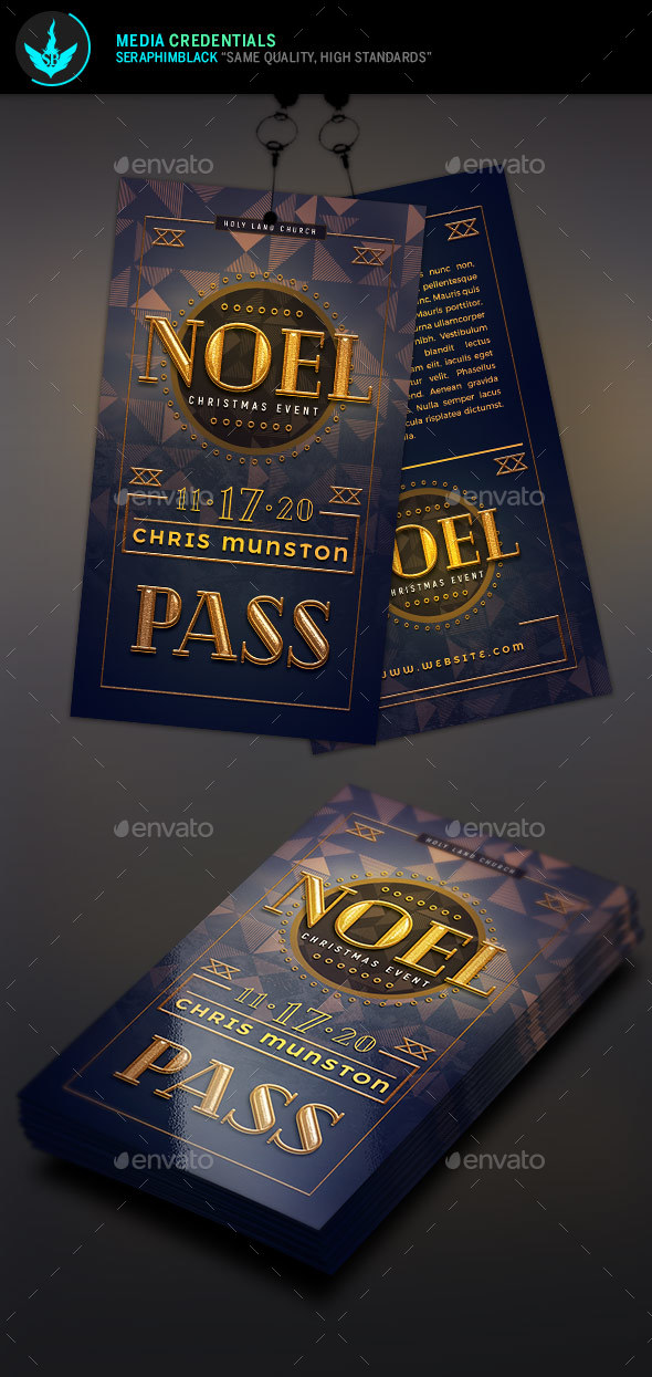 Noel Christmas Gala Event Pass Template - Miscellaneous Print Templates