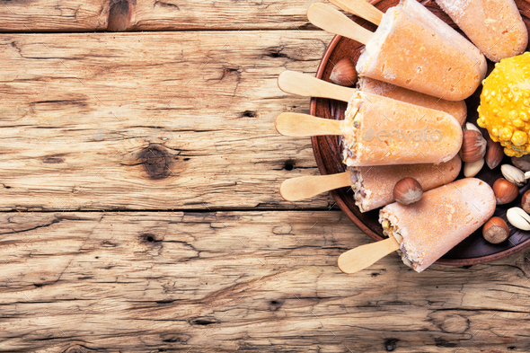 unusual ice cream with pumpkin - Stock Photo - Images