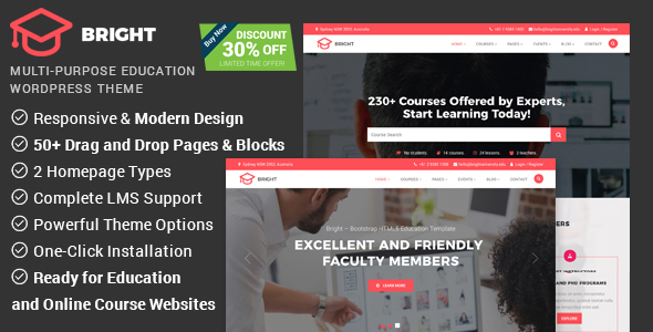 Bright - Education & Online Course WordPress Theme - Education WordPress