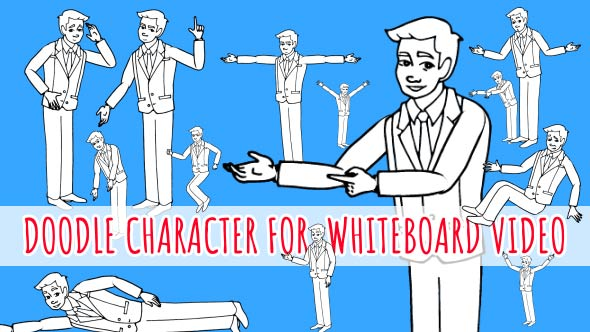 VideoHive Asian Man Character Doodle Whiteboard Animation 21106819