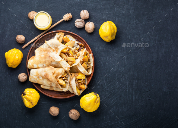delicious quince pancakes - Stock Photo - Images