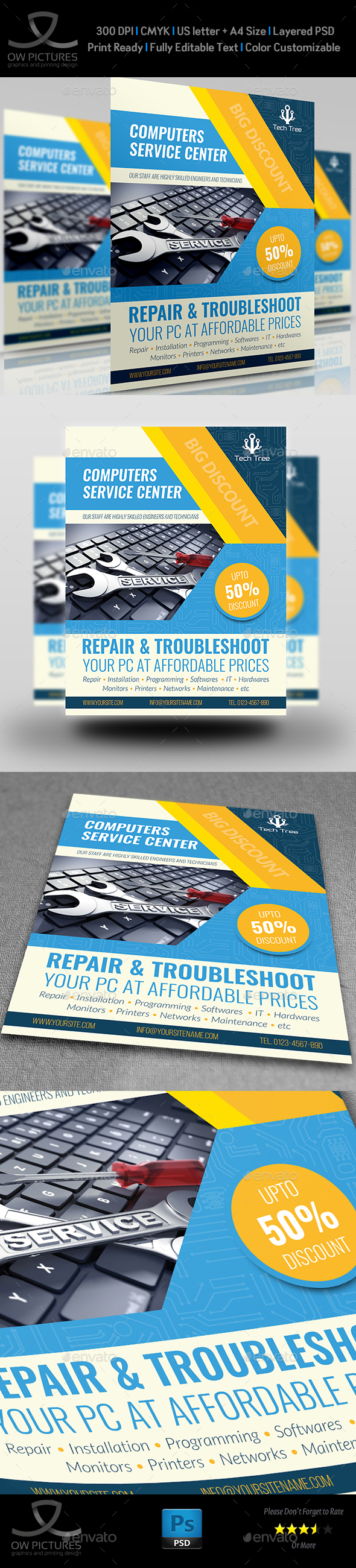 GraphicRiver Computer Services Flyer Template 21107034
