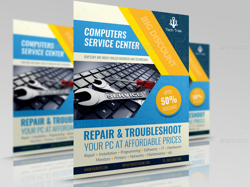 Computer Services Flyer Template by OWPictures | GraphicRiver