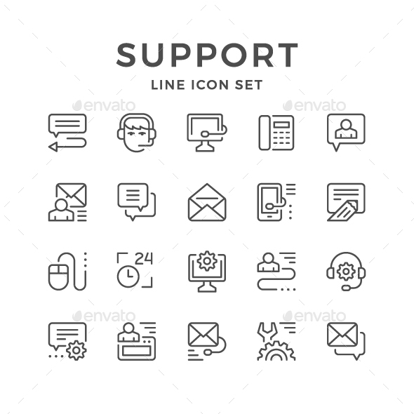 Set Line Icons of Support - Man-made objects Objects