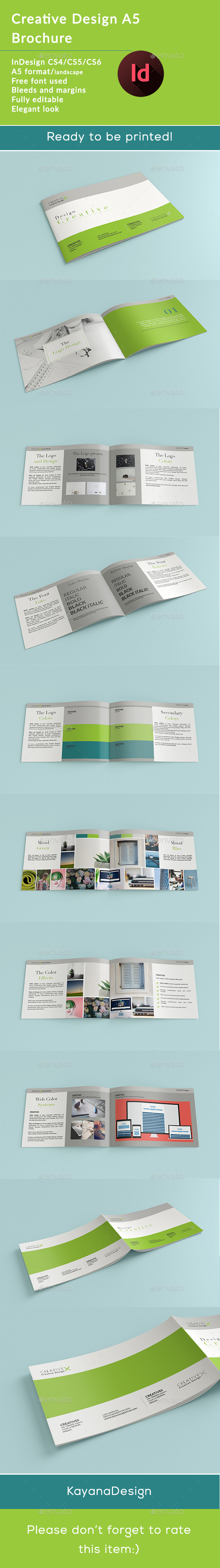 GraphicRiver Creative Design X A5 Horizontal Brochure 21107154