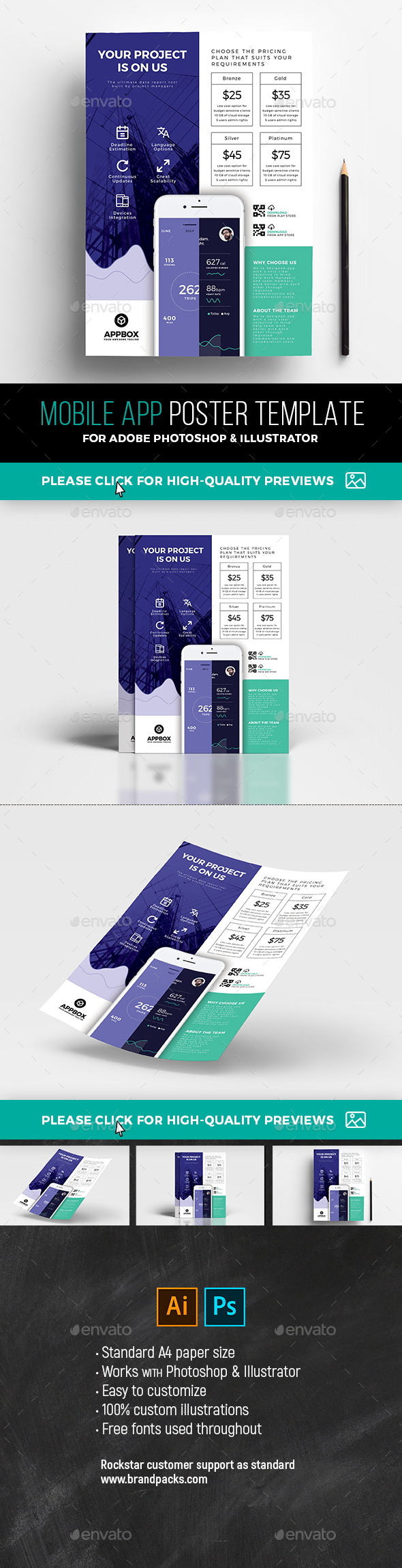 A4 Mobile App Poster Template - Corporate Flyers
