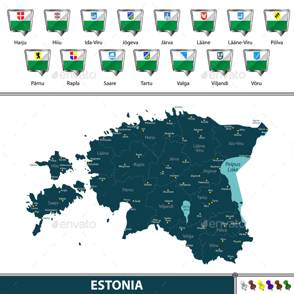 Map of Estonia - Travel Conceptual