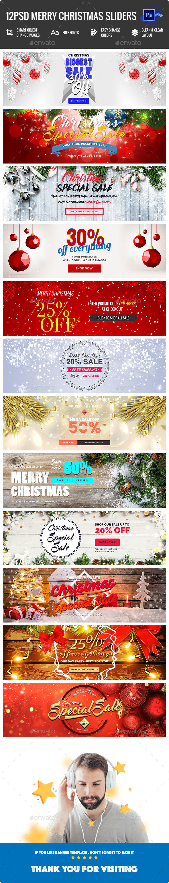 Merry Christmas Sliders - 12PSD - Sliders & Features Web Elements