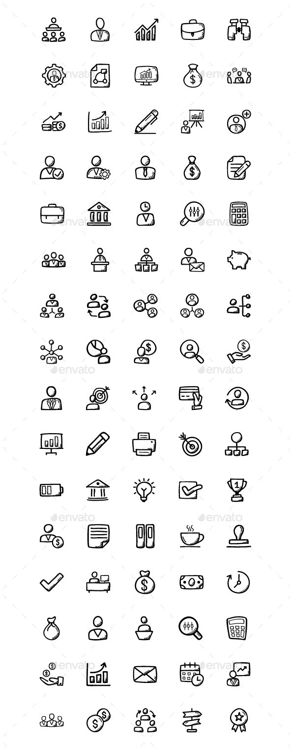 GraphicRiver 80 Business Doodle Icons 21107479